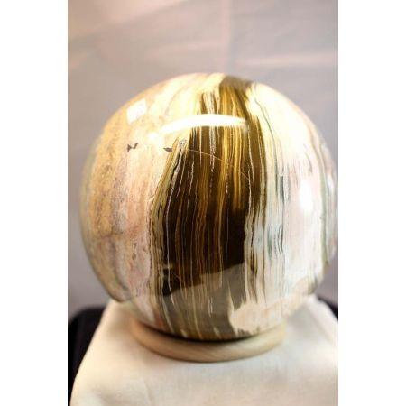 Kugel, versteinertes Holz + Oceanjaspis