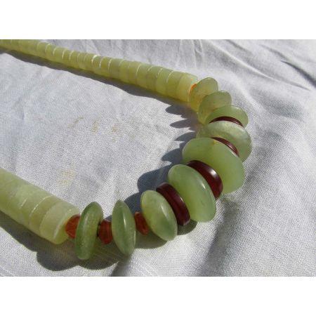 Serpentin-Karneol-Energie-Kristall-Kette