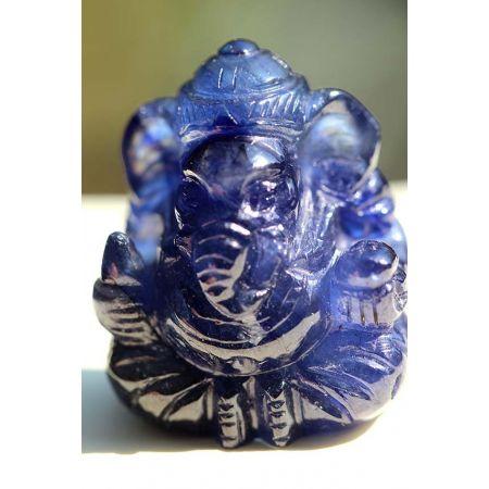 Mini-blaue Saphir-Ganesha-Gravur