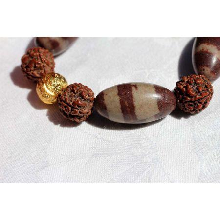 Shiva-Lingam+Rudrakshas - Energie-Armband
