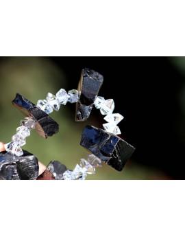 Edelschungit-Herkimer-Energie-Armband