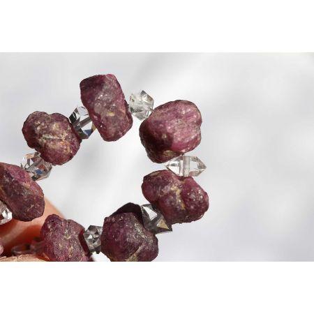 Rubin + Herkimer Diamanten-Energie-Armband