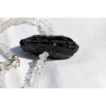 Herkimer Diamanten-Turmalinkern Schamanen-Energie-Kette -Seelenbefreiung-