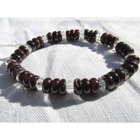 Granat + Bergkristall - Energie - Armband