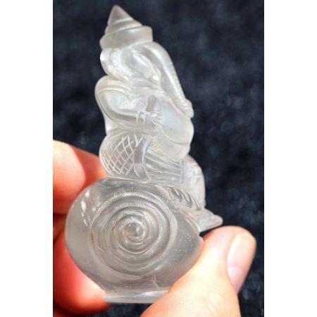 Bergkristall-Energie-Ganesha (mit Sonnenbogen des Lichts)