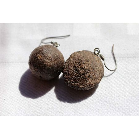 Moqui-Marbles-Ohranhänger-Paar / Lebende Energiesteine (Energiebringer)