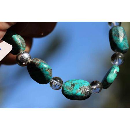 Türkis+Bergkristall - Armband